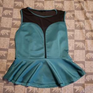 Iris XL Peplum green black sheer top blouse